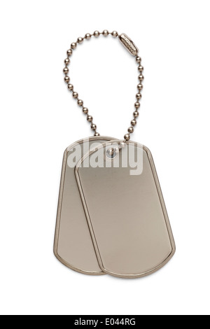 Military Silver Dog Tags on a Small Key Chain Isolated on White Background. - Stock Photo
