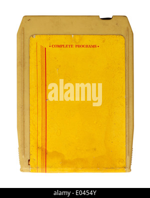 Yellow Retro Seventies Music Cassette Isolated on White Background. - Stock Photo