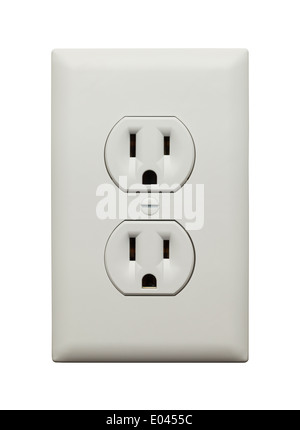 Electric Wall Socket with Wall Plate Isolated on White Background. - Stock Photo