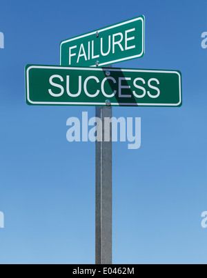 Two Green Street Signs Failure and Success on Metal Pole with Blue Sky Background. - Stock Photo