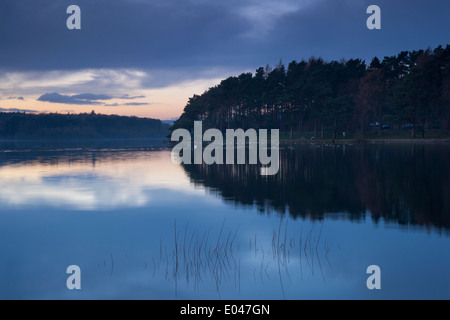 Beautiful scenic evening sunset over still, calm water & woodland banks of rural, deserted Swinsty Reservoir, Washburn - Stock Photo