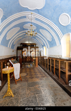 View inside church Agia Paraskevi in centre medieval town Olympi Chios Greece Olympi was laid out in its - Stock Photo