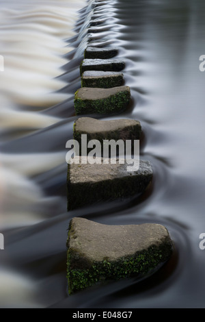 Long exposure, low viewpoint close-up of water flowing round stepping stones crossing a river - River Wharfe, Ilkley, - Stock Photo