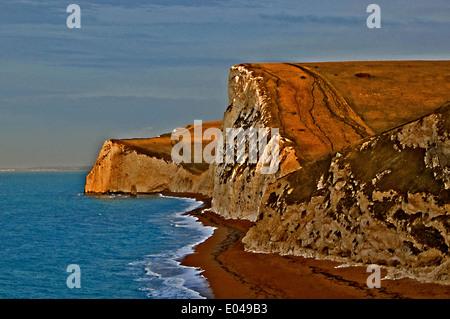 Dorset's Jurassic Coastline viewed towards Swyre Head and Bats Head near Lulworth.