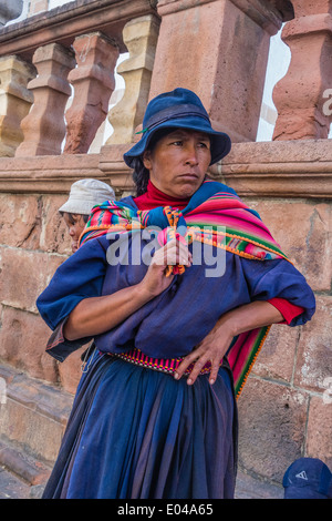 Traditional Dressed Native Bolivian Women With Bowler Hat