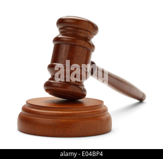 Brown gavel and sound block isolated on a white background. - Stock Photo