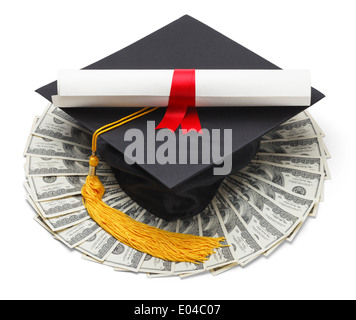 Graduate Hat with Degree and Cash Money Isolated on White Background. - Stock Photo