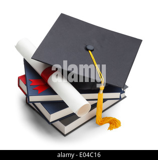 Books with Graduation Cap and Degree Isolated on White Background. - Stock Photo