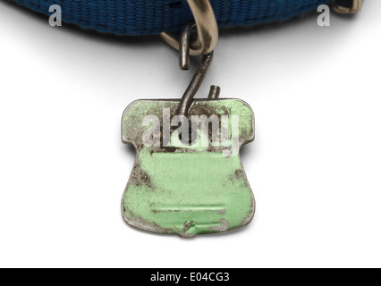 Blank Pet Dog Tag Shield Worn out and Scratched Isolated on White Background. - Stock Photo