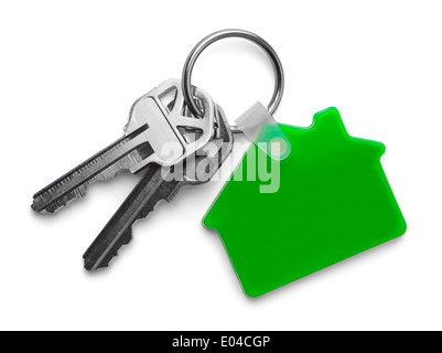 House keys with Green House Keychain Isolated on White Background. - Stock Photo