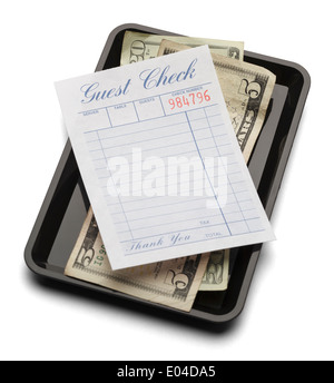 Resturant bill with money on payment tray isolated on a white background. - Stock Photo