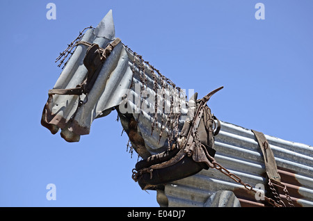 Life sized model of a horse made from rusty corrugated iron. Dungowan,  NSW Australia - Stock Photo