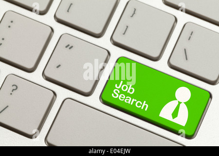 Close Up of Green Job Search Key Button on Keyboard. - Stock Photo