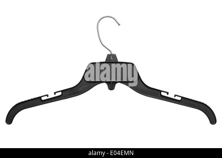 Black Plastic and Metal Clothes Hanger Isolated on White Background. - Stock Photo