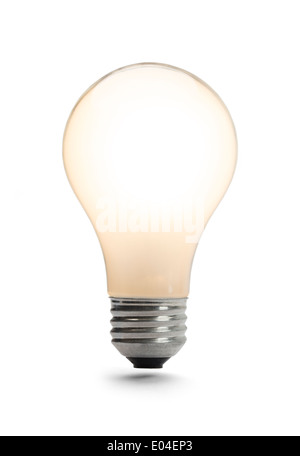 Classic Light Bulb Lit Up Isolated on a White Background. - Stock Photo