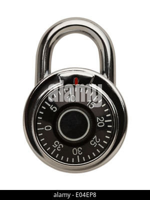 Dial Metal Combo Lock Front View, Isolated on White Background. - Stock Photo
