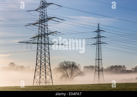 Power poles, power lines, in the morning mist, near Bochum-Werne - Stock Photo