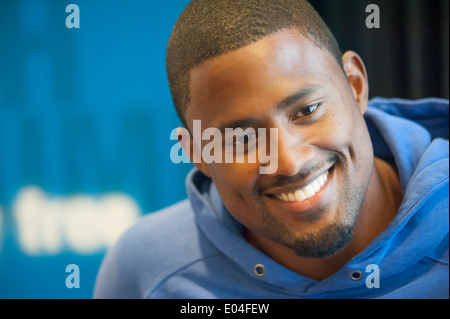 US hurdling athlete David Oliver at the press conference a day before his start at the IAAF athletics meeting in - Stock Photo