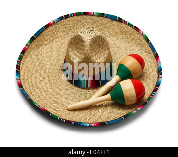 Fiesta Hat with Maracas Isolated on White Background. - Stock Photo