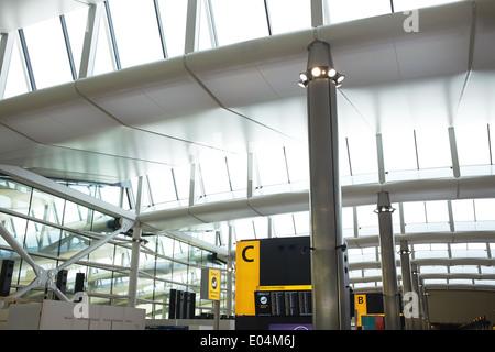 London Heathrow Terminal 2 interior detail - Stock Photo