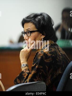 Jakarta, Indonesia. 2nd May, 2014. World Bank managing director and Indonesian former finance minister Sri Mulyani - Stock Photo