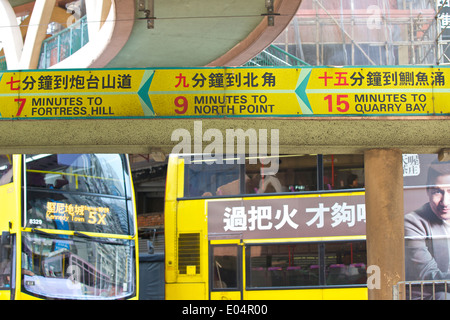Travel Times, Tram Timetable In Causeway Bay, Hong Kong. - Stock Photo