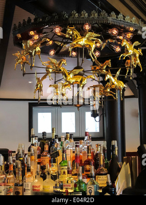 Golden Rotating Pegasus Chandelier in Bar Room , Newly Renovated ...
