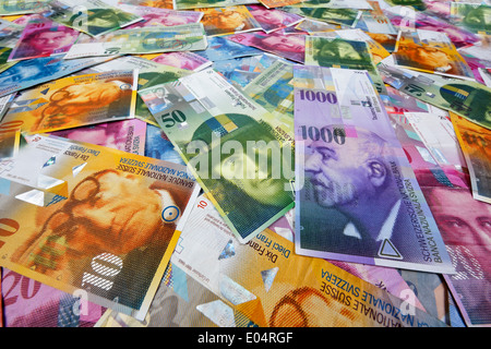 Swiss francs, money and currency of Switzerland, Schweizer Franken, Geld und Waehrung der Schweiz - Stock Photo