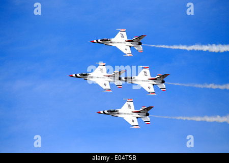 The USAF Air Demonstration Squadron ('Thunderbirds') is the air demonstration squadron of the United States Air - Stock Photo