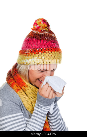 Young woman with a cold and cold., Junge Frau mit Schnupfen und Erkaeltung. - Stock Photo