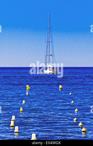 Europe, France, Alpes-Maritimes, Cannes. Sailboat anchored in the bay of Cannes. - Stock Photo