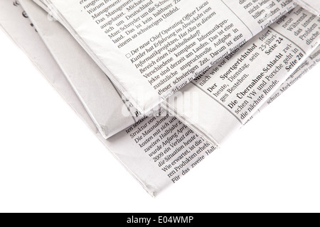 Old newspapers and magazine on a pile, Alte Zeitungen und Zeitschriften auf einem Stapel - Stock Photo