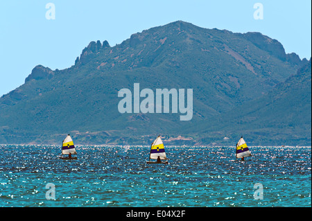 Europe, France, Alpes-Maritimes, Cannes. School, sailing dinghies. - Stock Photo