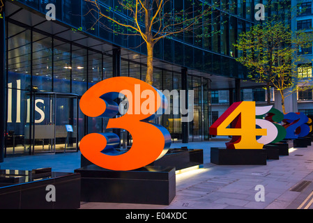 Brightly painted huge numbers in front of the Willis building, City of London, England, UK - Stock Photo