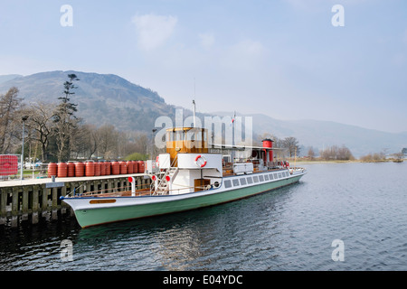 Old Steamer 'Raven' at Pier Head for Ullswater Steamers in the English Lake District National Park Glenridding Cumbria - Stock Photo