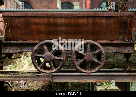 Close up of old coal wagon at Zeche Zollverein UNESCO World Heritage Site coal mine and coking plant, Essen, Germany - Stock Photo