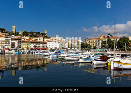 Europe, France, Alpes-Maritimes, Cannes. The old town and the old port. - Stock Photo
