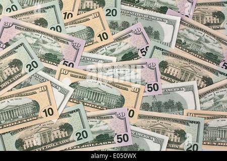 American dollar of bank notes from the USA, Amerikanische Dollar Geldscheine aus den USA - Stock Photo
