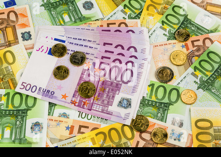 A lot of different euro of bank notes. Symbolic photo for wealth and investment., Viele verschiedene Euro Geldscheine. - Stock Photo