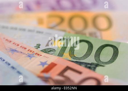 lot of different euro of bank notes. Symbolic photo for wealth and investment., Viele verschiedene Euro Geldscheine. - Stock Photo