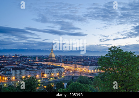 Turin (Torino), high definition panorama at twilight - Stock Photo