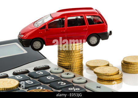 Car and pocket calculator. Rising costs by autopurchase, leasing, workshop, refuelling and assurance - Stock Photo