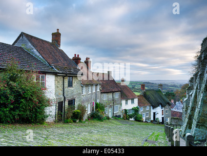 Row of quaint English cottages at Gold Hill in Shaftesbury in Dorset. - Stock Photo