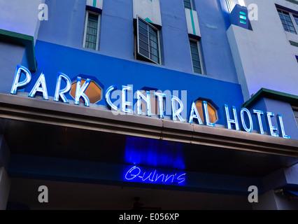The art deco Park Central Hotel at night, Ocean Drive, South Beach, Miami Beach, Florida, USA - Stock Photo