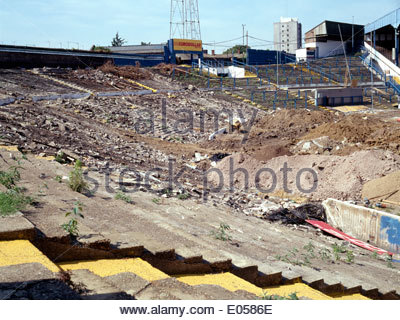 The infamous Shed Terrace at Stamford Bridge, home of Chelsea Football Club of England, is demolished one summer - Stock Photo