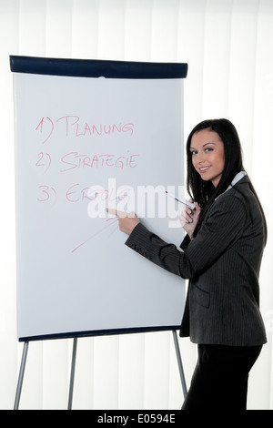 Coach Flipchart into German. Training and education, Coach Flipchart in Deutsch. Schulung und Ausbildung - Stock Photo