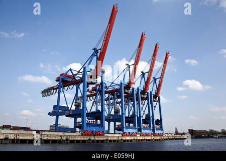 Ships in the harbour of Hamburg in Germany, Europe, Schiffe im Hafen von Hamburg in Deutschland, Europa - Stock Photo