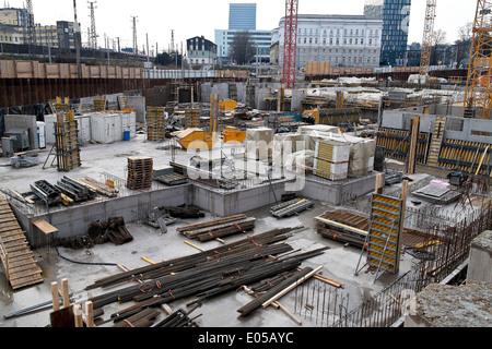 Security of a building site, Absicherung einer Baustelle - Stock Photo