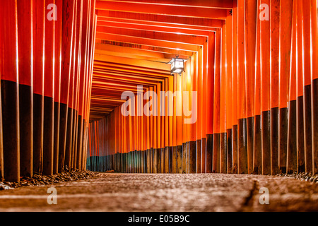 Fushimi Inari Taisha Shrine torii gates in Kyoto, Japan. - Stock Photo