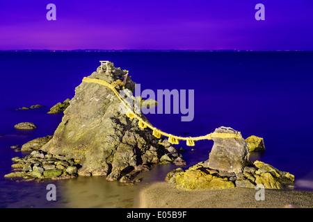 Meoto Iwa Rocks in Futami, Ise, Japan. - Stock Photo